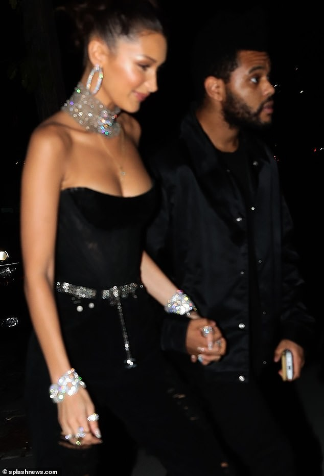 Lovely photos of The Weeknd leading his girlfriend Bella Hadid into her 22nd birthday party?