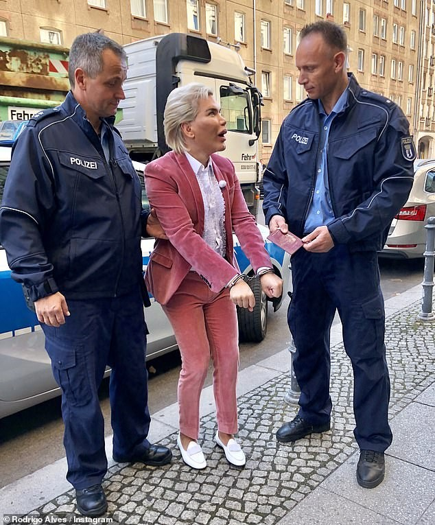 Human Ken Doll Rodrigo Alves arrested and handcuffed in Berlin (Photos)