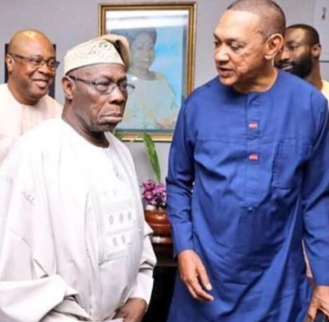 Caption this photo of Obasanjo and Ben Bruce from the meeting with Atiku