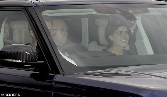 Here comes the bride and groom! Princess Eugenie and her husband-to-be Jack Brooksbank arrive at Windsor Castle ahead of their wedding tomorrow