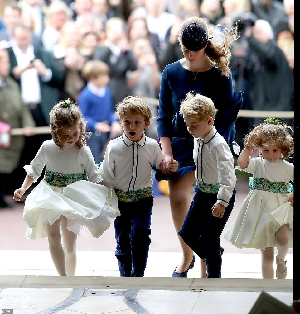 Adorable Princess Charlotte melts hearts as she and Prince George lead Princess Eugenie