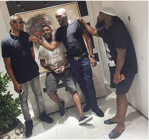 Photo of Timaya, 2face, Faze and AY hanging out together