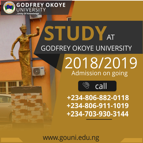 Admission!!!!  Admission!!!! Admission!!!!  Study at Godfrey Okoye University, Enugu
