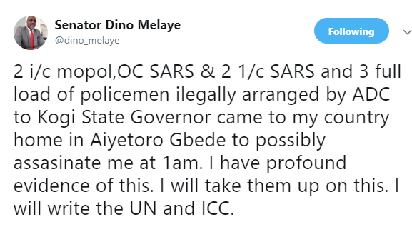 Dino Melaye says a Mopol officer, SARS and policemen were sent to allegedly assassinate him