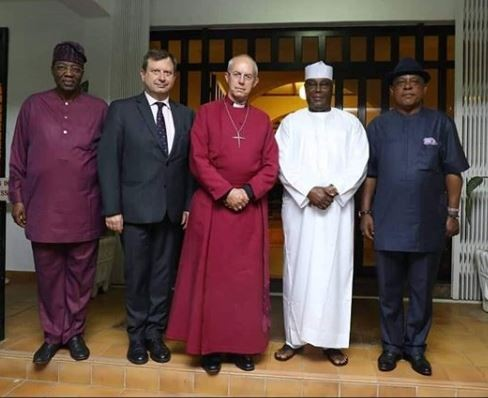 Atiku meets the Archbishop of Canterbury, Justin Welby shortly after meeting Buhari in Abuja (Photo)