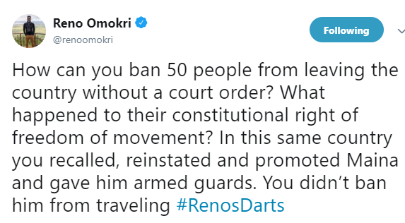Reno Omokri chides FG for placing travel ban on 50 prominent Nigerians