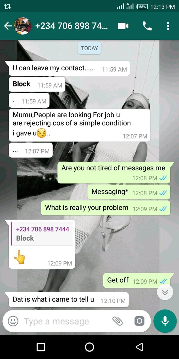 Lady shares screenshot of the chat she had with a man who offered her a job with conditions