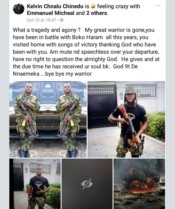 Photos: Young soldier gallantly fighting Boko Haram from 24 victims of the Abia Pipeline explosion