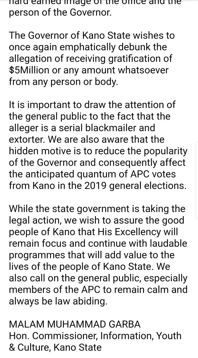 Kano state government releases official statement on viral purported video showing the governor, Umar Ganduje, receiving bribes from state contractors