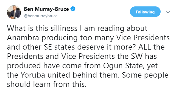 Ben Bruce reacts to South East leaders kicking against Peter Obi