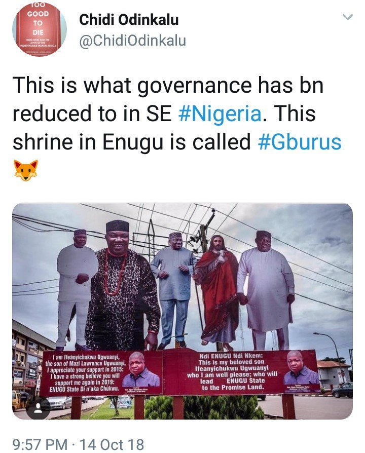 "Enugu state governor is mocked online after photo emerged of his campaign billboard with ""Jesus"" by his side endorsing him"