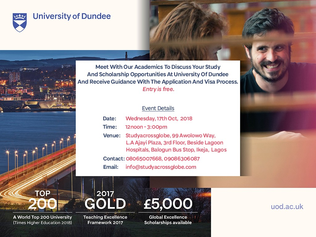 Meet With Our Academics To Discuss Your Study And Scholarship Opportunities At University Of Dundee