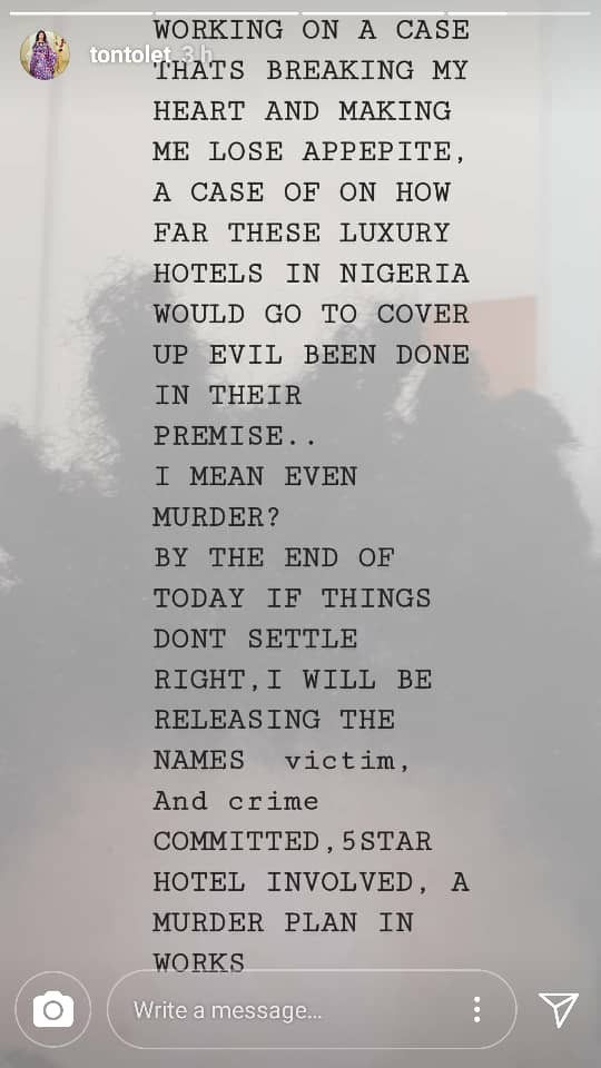 Tonto Dikeh vows to expose 5-star hotel in Nigeria trying to cover a murder case
