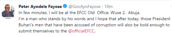 Fayose says he is on his way to EFCC office, reminds