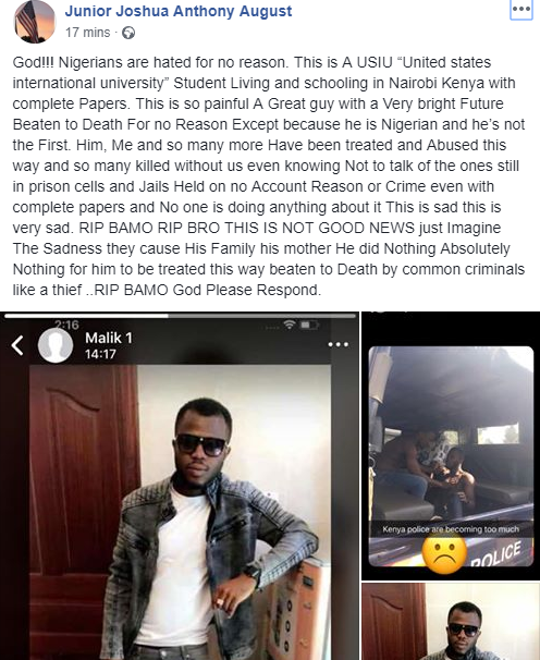 Nigerian student beaten to death by Kenyan police