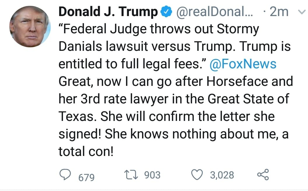 Donald Trump slams Stormy Daniels after her lawsuit was dismissed by a federal judge; calls her