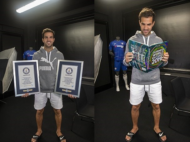 Chelsea star Cesc Fabregas receives his second Guinness World Record after becoming the fastest player to reach 100 Premier League assists (Photos)
