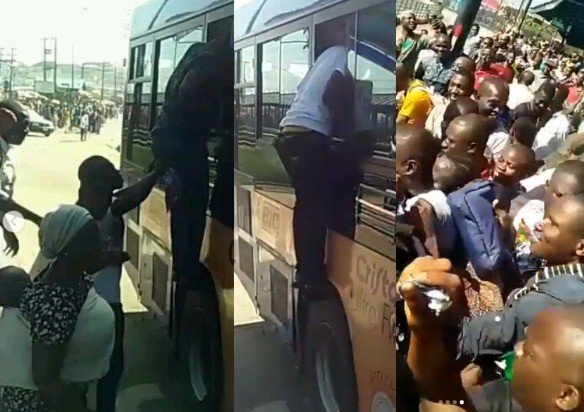 Trending videos of passengers scampering to enter a BRT bus in Ikorodu