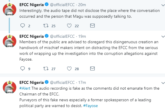 EFCC says audio tape making the rounds of its chairman allegedly saying nothing will happen if Fayose died in its custody is fake