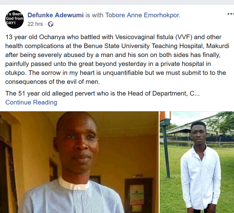 13-year-old allegedly raped by father and son for 4 years in Benue State dies after battle with Vesicovaginal fistula