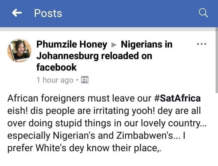 Xenophobic attacks on black aliens, especially Nigerians.