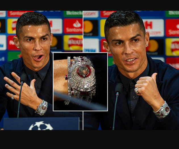 Cristiano Ronaldo shows off ?1.85million watch made with 424 glistening white diamonds as he returns to Manchester United (Photos)