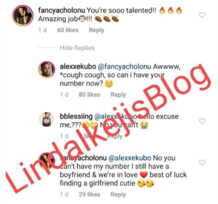 Between Nollywood actor, Alexx Ekubo and his girlfriend Fancy Acholonu on Instagram ( Screenshot)