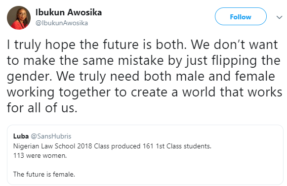 Ibukun Awosika corrects a twitter user