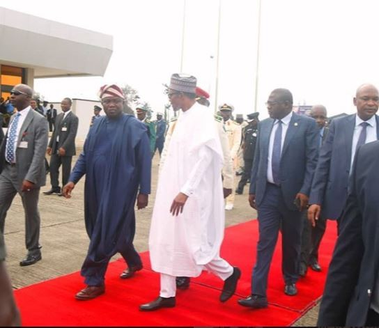 Photo: President Buhari arrives Lagos for?the official hand-over of the new ECOWAS?border Posts?in Badagry