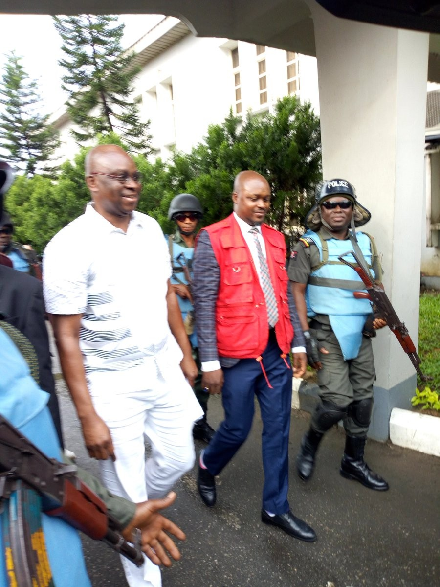 Photos: Fayose all smiles as he arrives court for hearing of his bail application