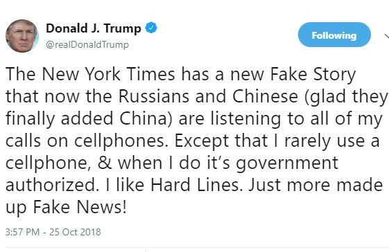 President Trump reacts to reports that?Chinese and Russian spies hacked his iPhone