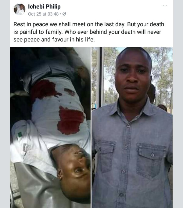 Photos: Masked soldiers allegedly kill bank security guard in Jos for refusing them entry after banking operation hours