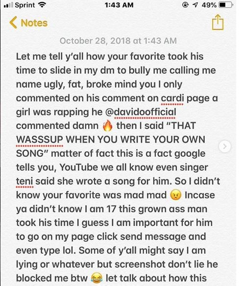 17-year old girl drags the heck out of Davido after he called her