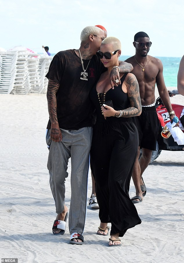 Amber Rose and her new boyfriend Alexander Edwards pack on the PDA as they step out in Miami (Photos)