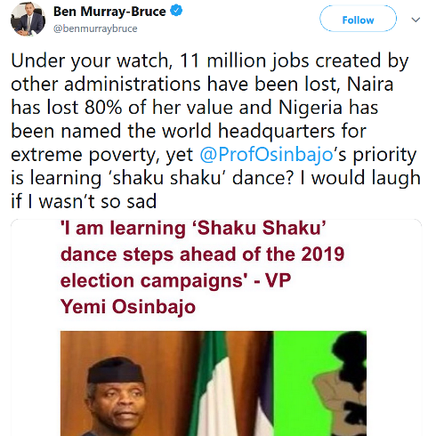 Ben Murray-Bruce comes for VP Yemi Osinbajo over his Shaku Shaku comment