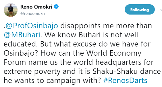 ''We know Buhari is not well educated but Osinbajo disappoints me more than him'' Reno Omokri 2