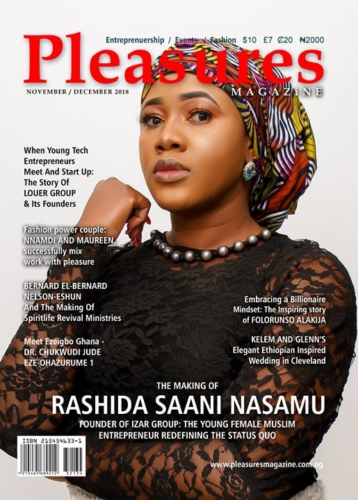 Ghanaian entrepreneur Rashida Nasamu on cover of Pleasures Magazine, November 2018