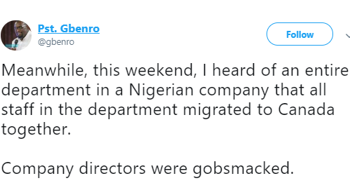 Twitter stories: All staff in an entire department in a Nigerian company migrate to Canada together