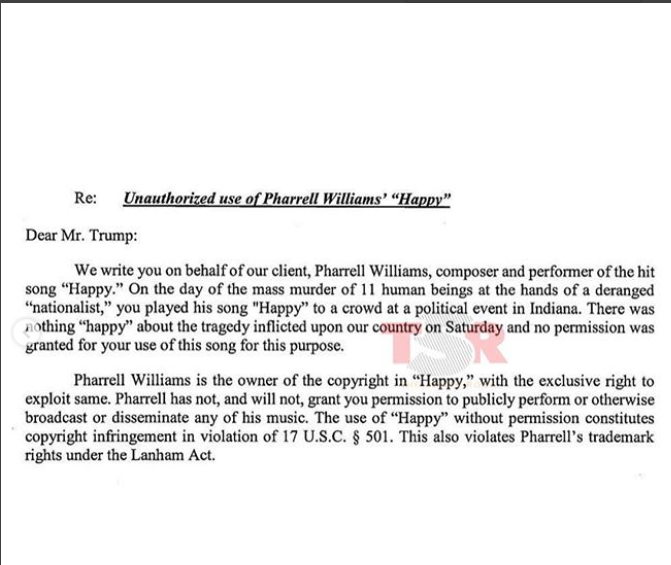 Pharrell Williams orders Donald Trump to stop playing his songs at his rallies, slaps him with a cease-and-desist letter?