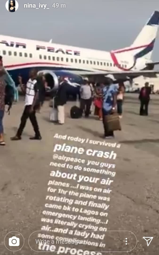 #BBNaija ex-housemate, Nina thanks God after surviving a near plane mishap