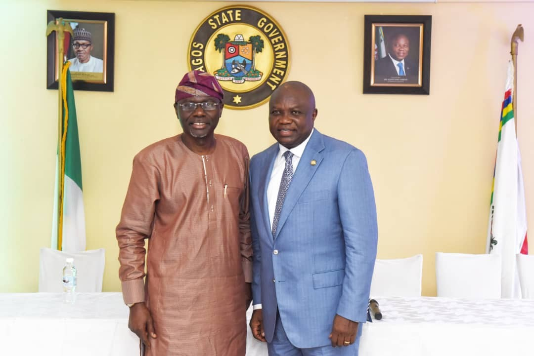 2019: Lagos APC governorship candidate,?Babajide Sanwo-Olu visits Governor?Ambode at the?State House