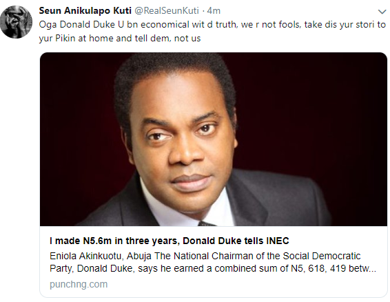 "'You are being economical with the truth"" - Seun Kuti calls out presidential candidate Donald Duke 3"