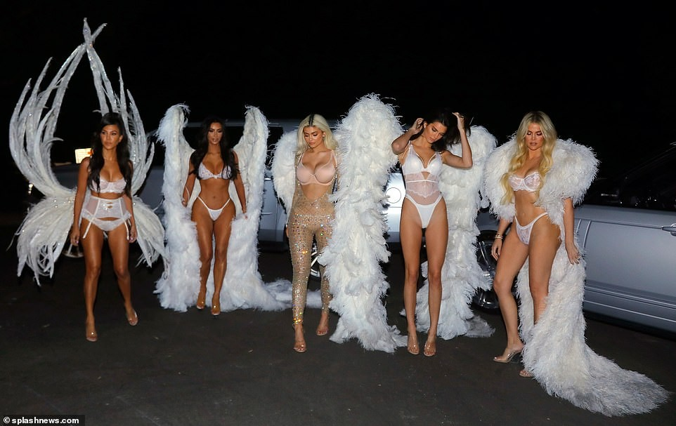 The Kardashian /Jenner sisters channel Victoria Secret Angels in sexy costumes for epic Halloween bash (photos)