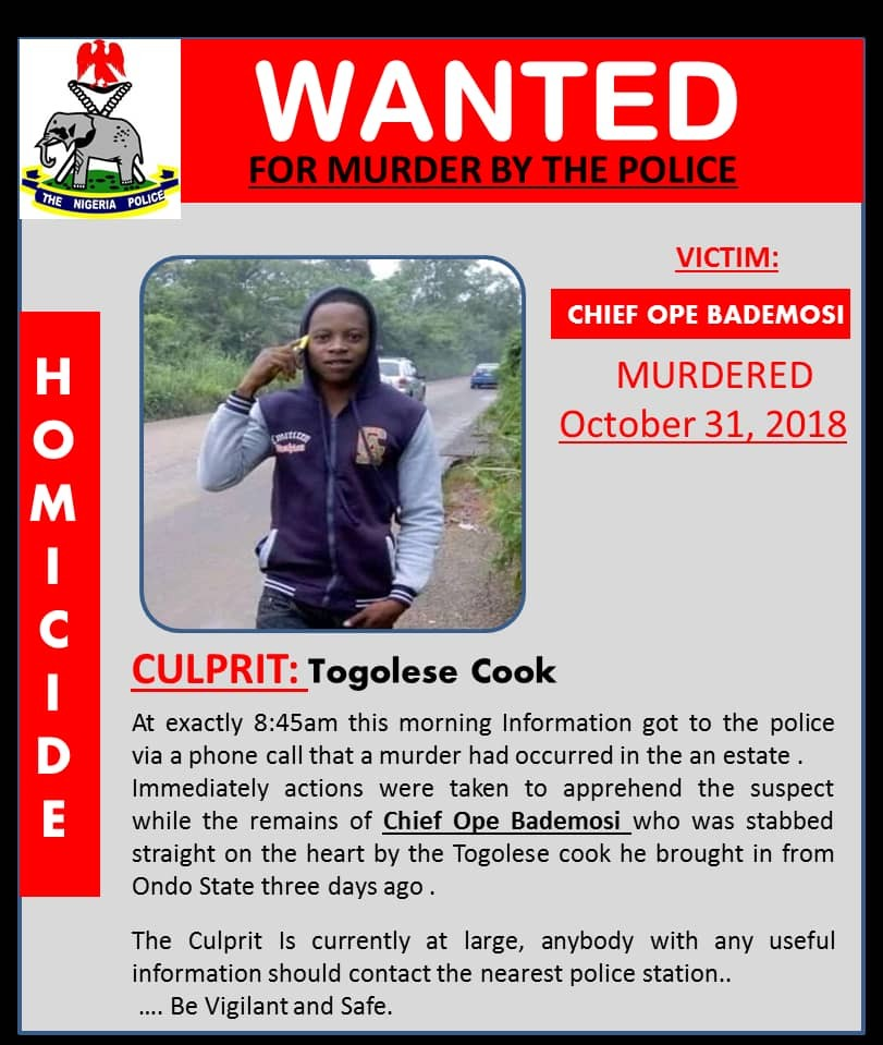 Photos: Police declare cook wanted for murdering popular Lagos chief, Ope Bademosi