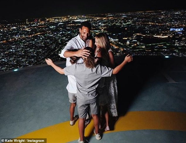 Ex-Man.U star Rio Ferdinand proposes to his girlfriend Kate Wright in front of his three children in Abu Dhabi (Photos)