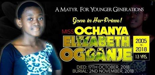 #JusticeForOchanya: Burial date set for 13-year-old rape victim, Elizabeth Ochanya