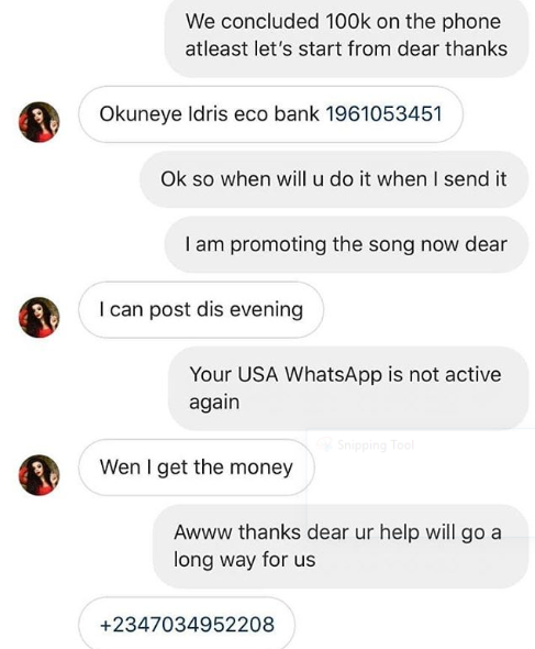 """Liar!"" - US-based Nigerian musician, King Hollywood, fires back at Bobrisky; shares screenshots of transfer to dispute Bob"