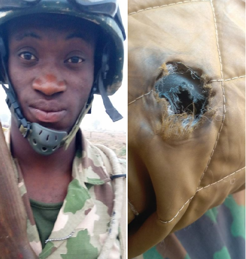 Nigerian soldier serving in Yobe rejoices at miraculous survival after bullet penetrates his sweater but not his body