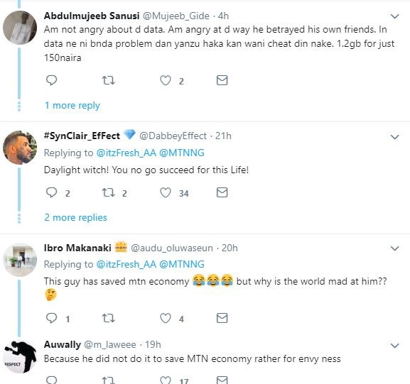 Angry Nigerians call out Twitter user after he reported a cheat code that enables people get 5GB data with just N50 on MTN