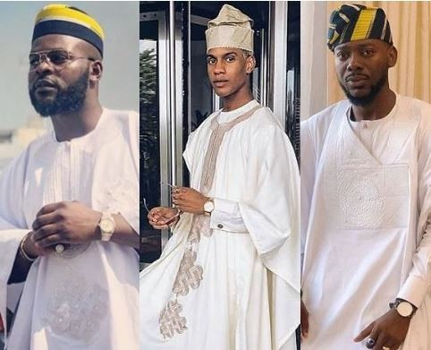 "Falz, Adekunle Gold, Denola Grey, see all the ""Agbadas"" from the wedding of OAP Gbemi Olateru-Olagbegi to?Femi Ajayi"